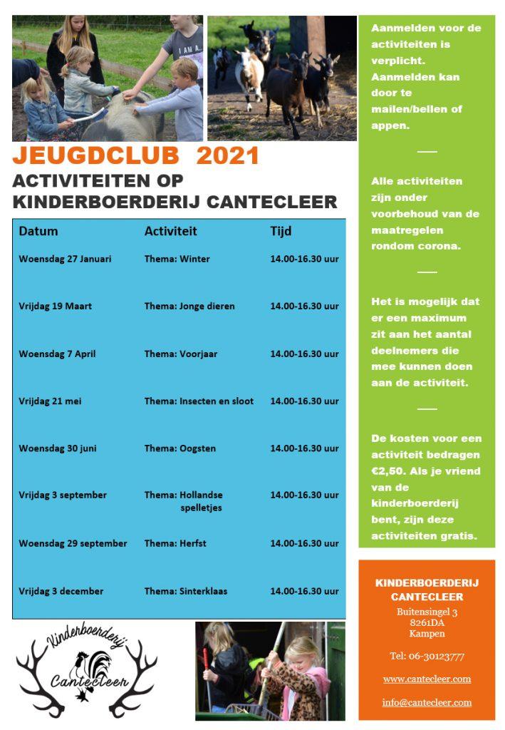 Jeugdclub agenda 2021